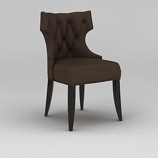 美式咖啡色餐椅3d模型3d模型