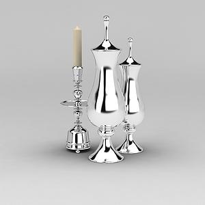 欧式不锈钢烛台酒壶模型