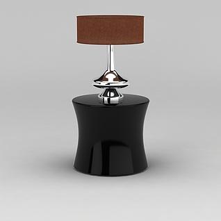 黑色圆边几台灯组合3d模型