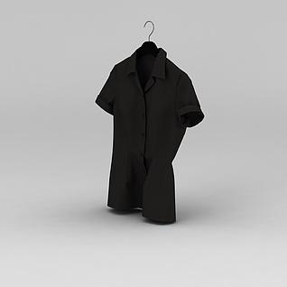 黑色短袖衬衣3d模型3d模型