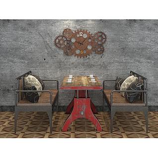 loft工业风格餐桌椅3d模型3d模型