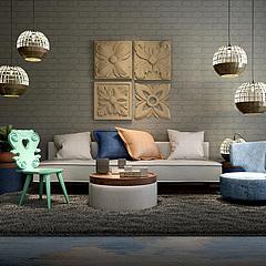东南亚沙发茶几组合3D模型3d模型