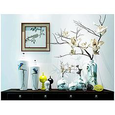 中式干枝花艺器皿组合3D模型3d模型