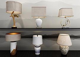 新中式精品台灯组合模型