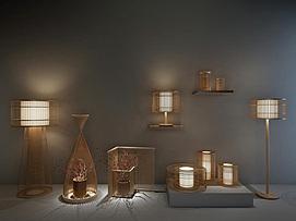 新中式竹子禅意落地灯模型
