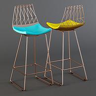现代时尚铁艺吧椅3D模型3d模型