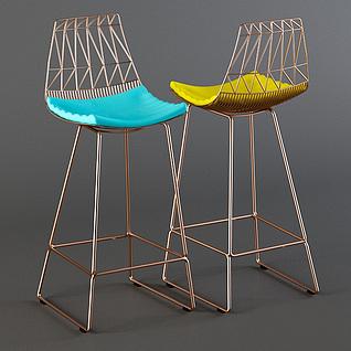 现代时尚铁艺吧椅3d模型