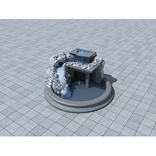 景观叠水3d模型