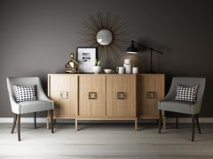 原木边柜椅子装饰品组合模型3d模型