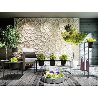 庭院盆栽户外休闲椅组合3d模型