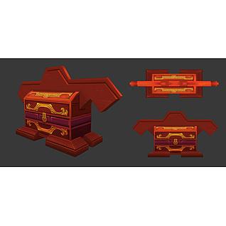 游戏道具红色宝箱3d模型
