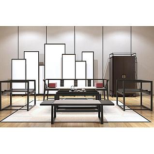 新中式简约实木沙发茶桌3d模型3d模型