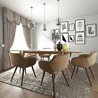 北欧实木餐桌椅喇叭吊灯组合3d模型3d模型
