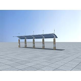 自行车棚3d模型