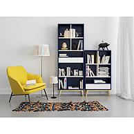 北欧蓝色书柜杏黄色单椅组合3D模型3d模型
