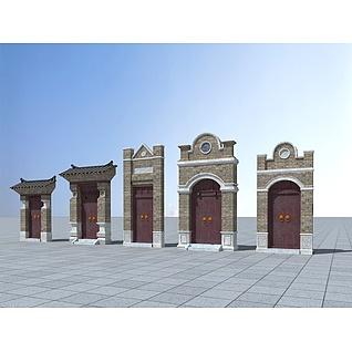 中式砖瓦门头3d模型