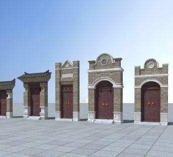 中式砖瓦门头