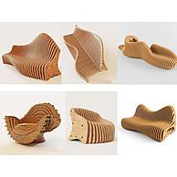 休息区创意木质椅子3D模型3d模型