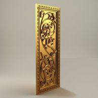 金色雕花屏风3D模型3d模型