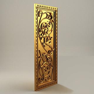 金色雕花屏风3d模型