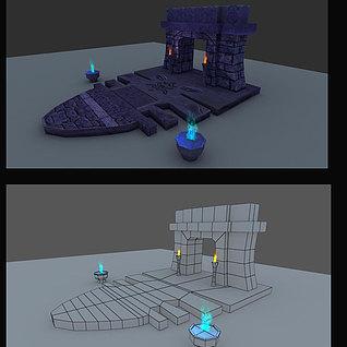 游戏场景石门3d模型