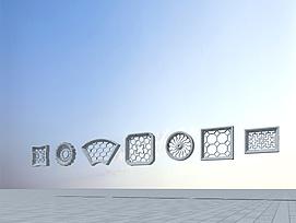 中式花窗模型