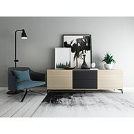 时尚简约电视柜休闲椅组合3D模型3d模型