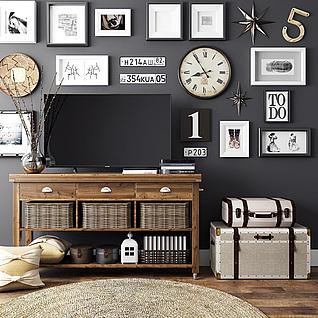 田园实木电视柜挂画背景墙3d模型