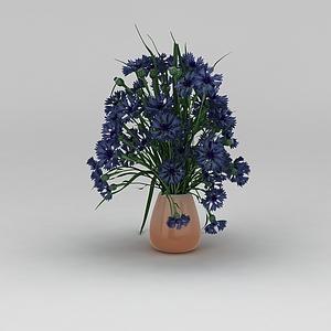 蓝色花卉装饰品模型3d模型