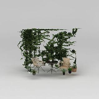 庭院休闲桌椅植物墙组合3d模型3d模型