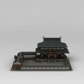 古代阁楼庭院3d模型