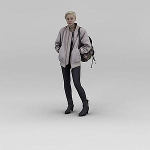 背包女人模型