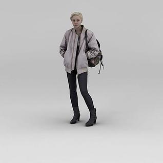 背包女人3d模型