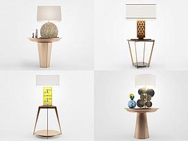 新中式台灯角几组合模型
