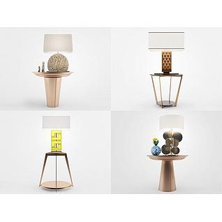 新中式台灯角几组合3d模型