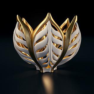 金色花形装饰品3d模型