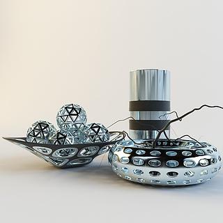 现代镂空银色装饰品3d模型