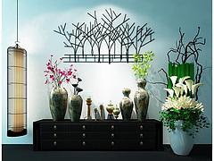 新中式柜子花艺摆件墙饰品组合模型3d模型
