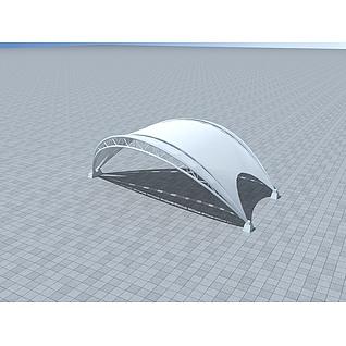 户外膜结构车棚3d模型