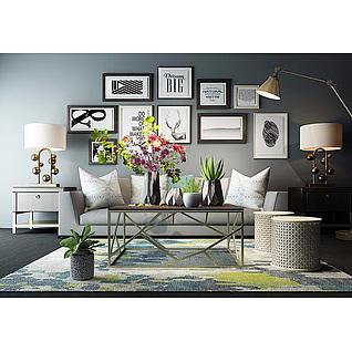沙发茶几花艺饰品组合3d模型3d模型
