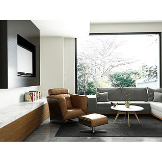 高档真皮休闲椅沙发茶几组合3d模型3d模型