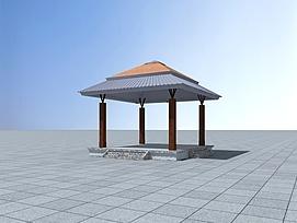 休息亭3d模型