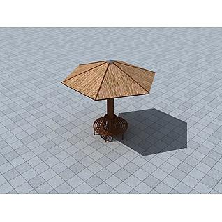 茅草亭3d模型