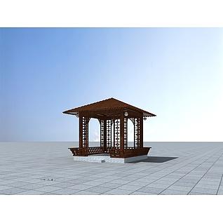 休息木亭3d模型