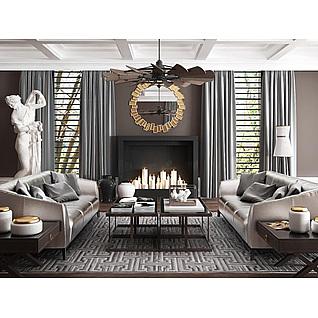 高档亮面沙发茶几人物雕塑组合3d模型3d模型