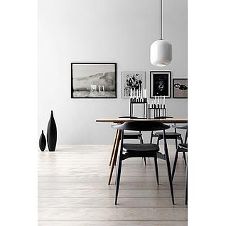 现代简约餐厅桌椅组合3d模型3d模型