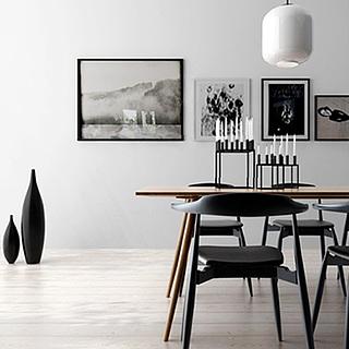 现代简约餐厅桌椅组合3d模型