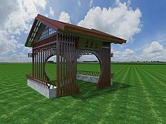 新中式凉亭模型3d模型