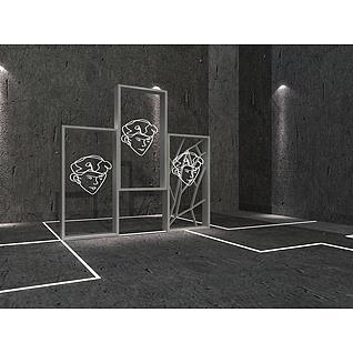 人像艺术隔挡框3d模型