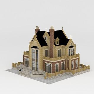 豪华欧式独栋别墅3d模型3d模型